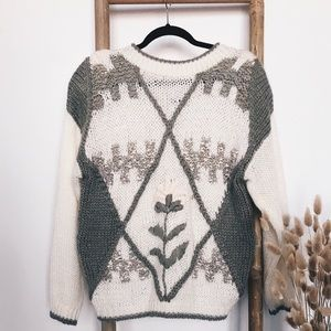 80's Vintage Floral Chunky Hand Knitted Sweater